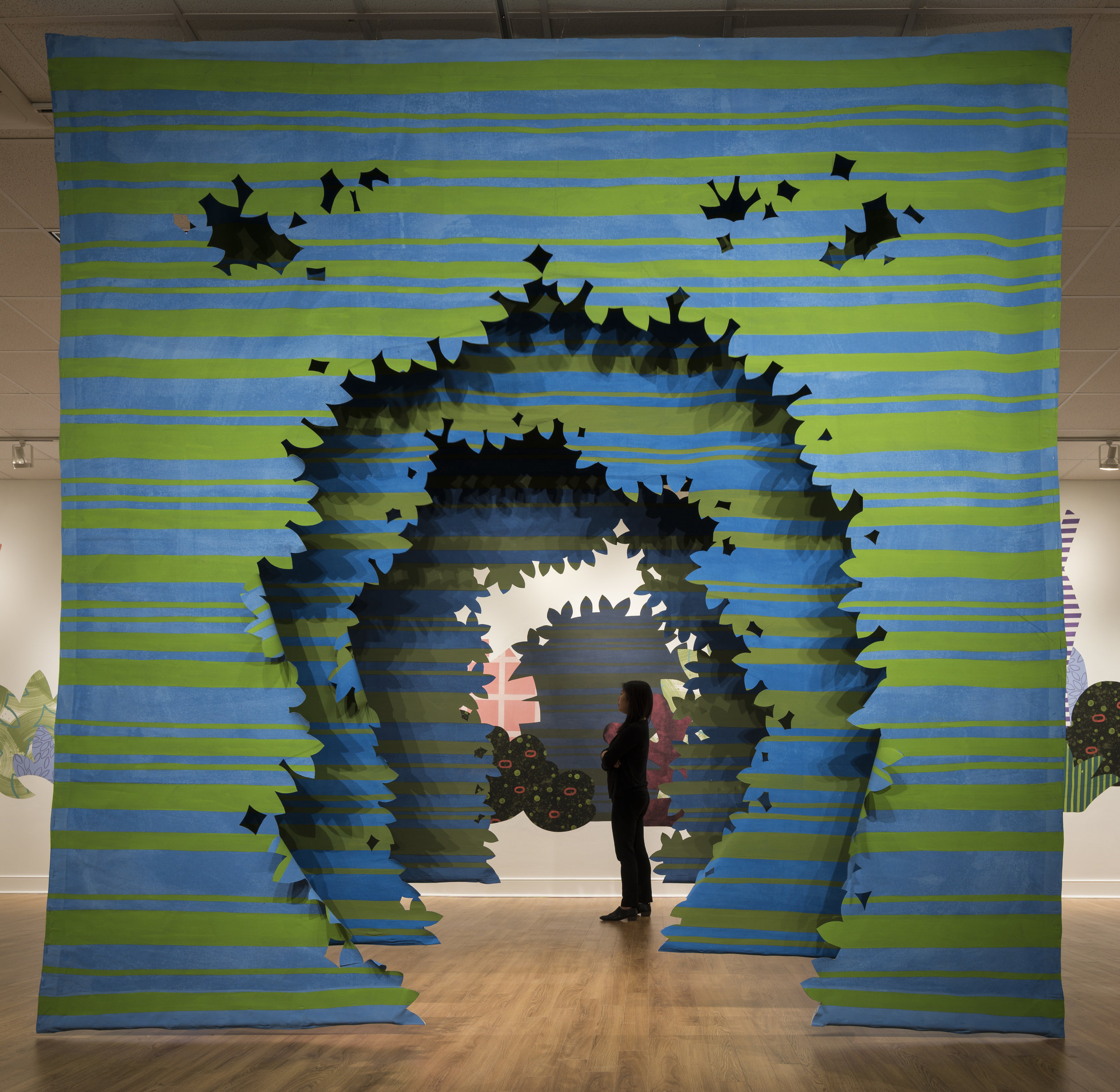 Proscenium Hedgerow   (2018) 11ft x 10ft x 2ft; series of three latex on cut muslin panels