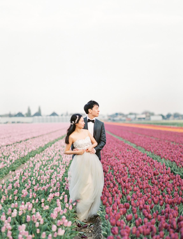 Netherlands Flower Field Prewedding Engagement Photographer