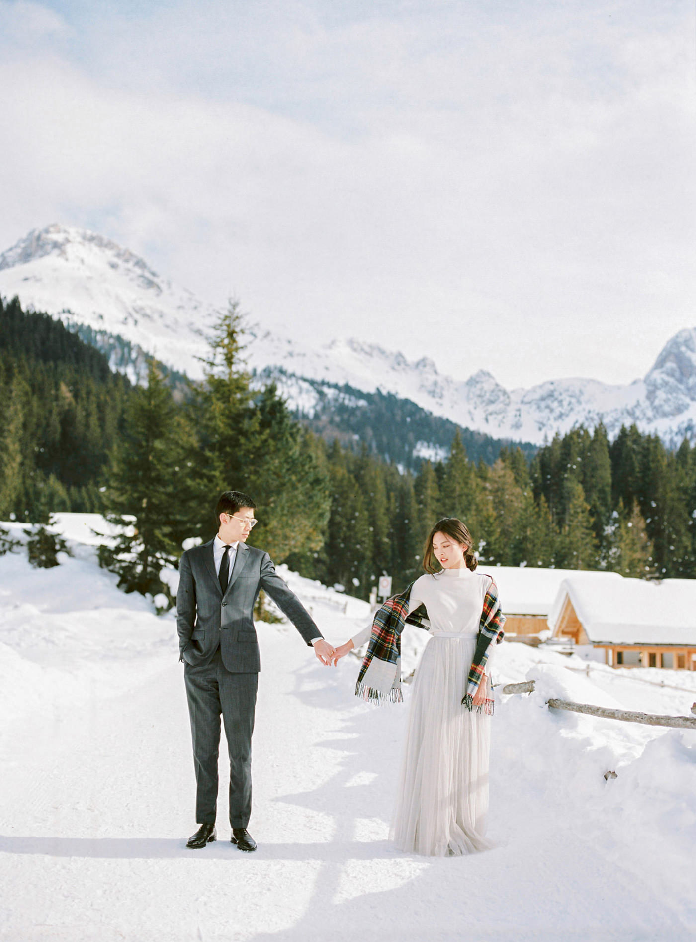 eloping in the alpine mountains   Dolomites, italy