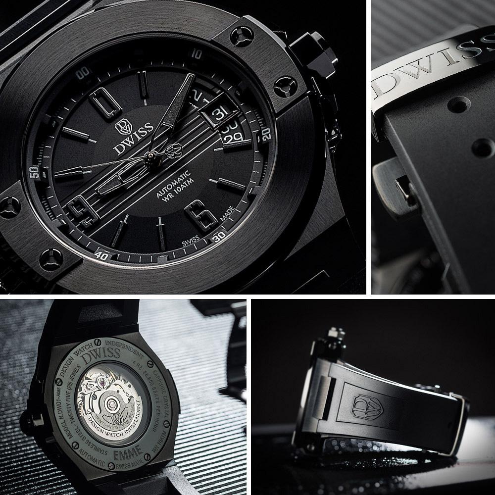 Séria fotografii hodiniek DWISS EMME Black, ktoré boli uverejnené na stránke  TOPTIME .