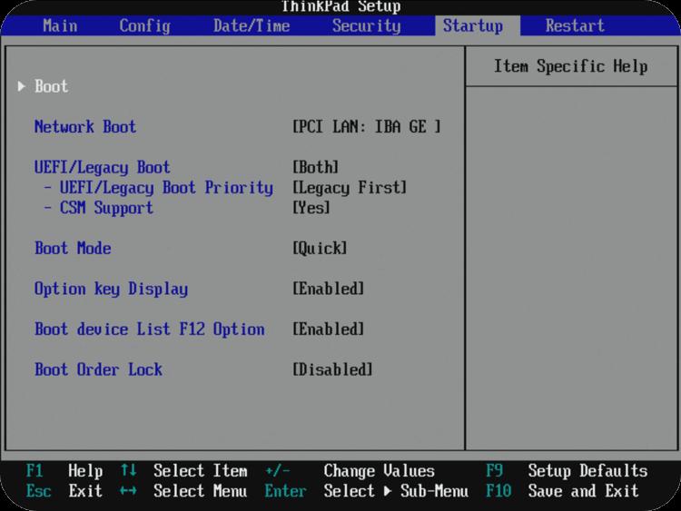 Ændring af rækkefølge i Boot Manager
