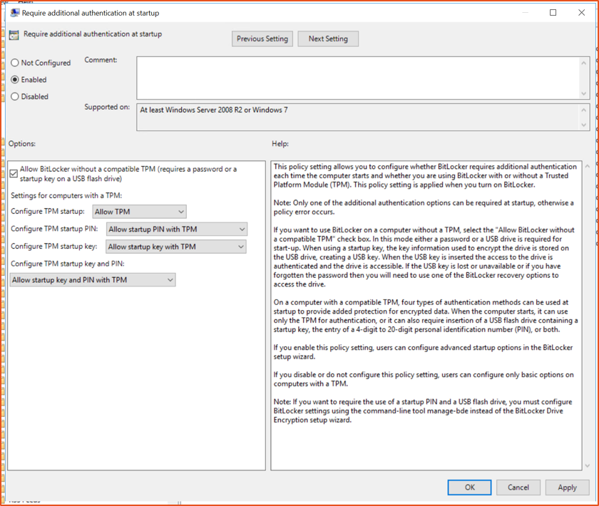 Bitlocker Guide Step 5 - Additional authentication Config