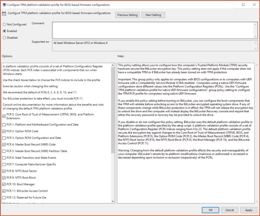 Bitlocker Guide Step 7 - Configure TPM platform Config