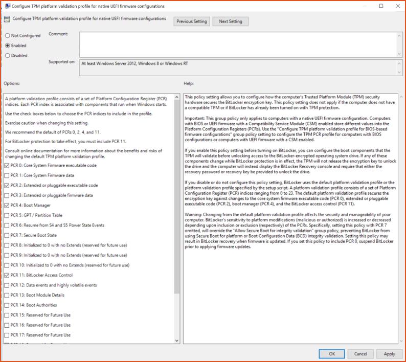 Bitlocker Guide Step 9 - UEFI Firmware Config