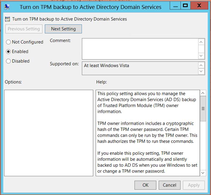 Bitlocker Guide Step 11 - Turn on TPM backup Config