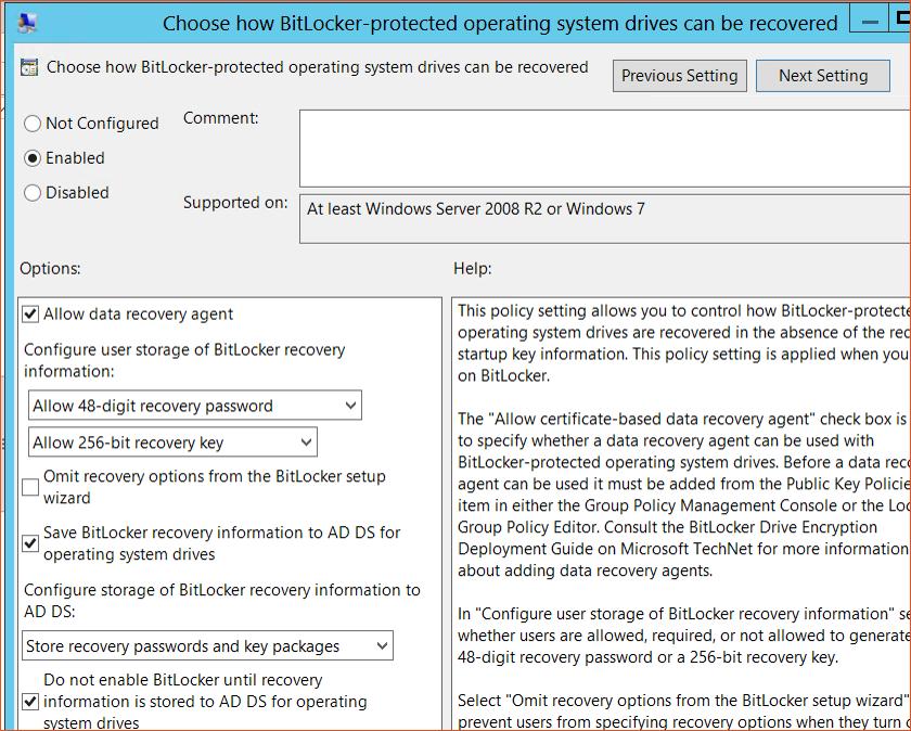 Bitlocker Guide Step 13 - Choose how Bitlocker-protected Config