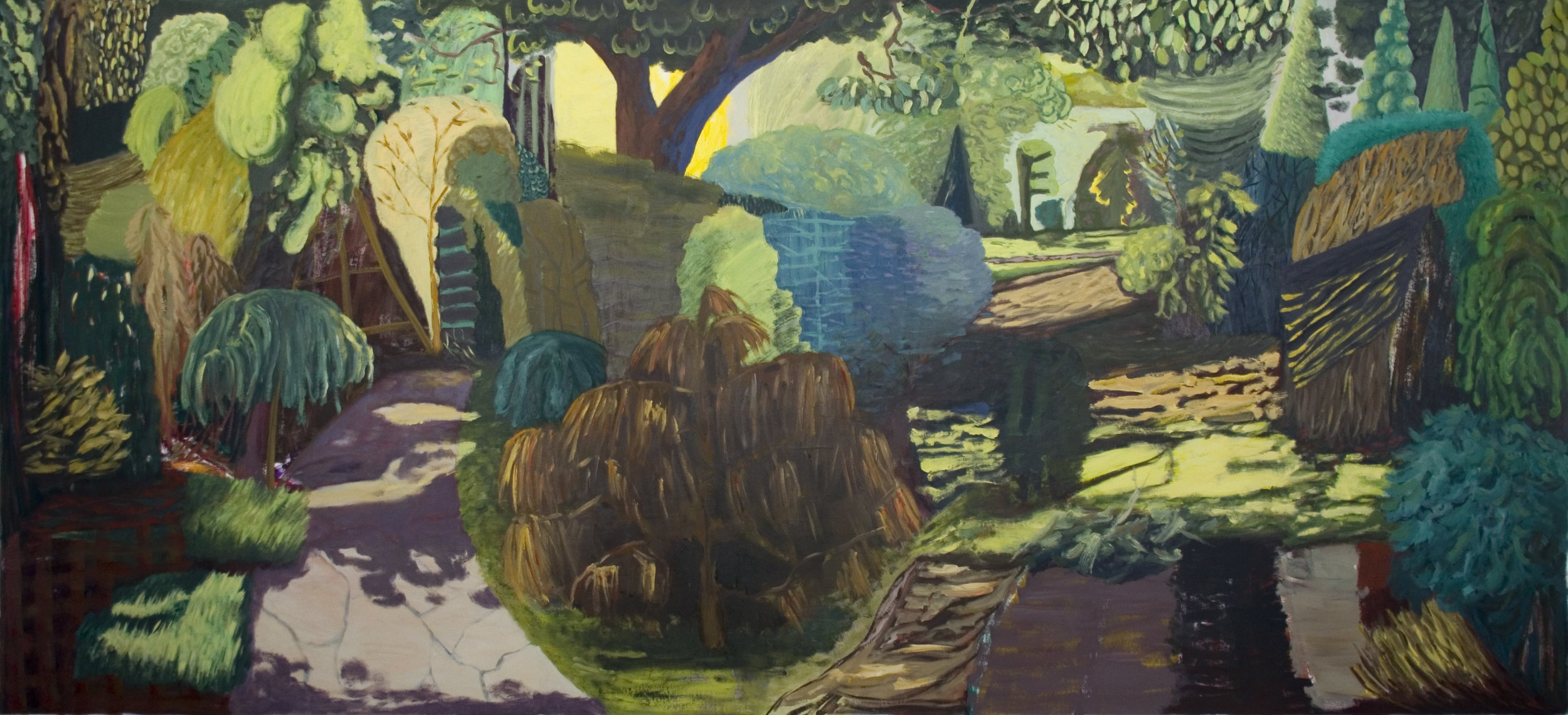 Garten, Öl auf Leinwand, 170 x 390 cm