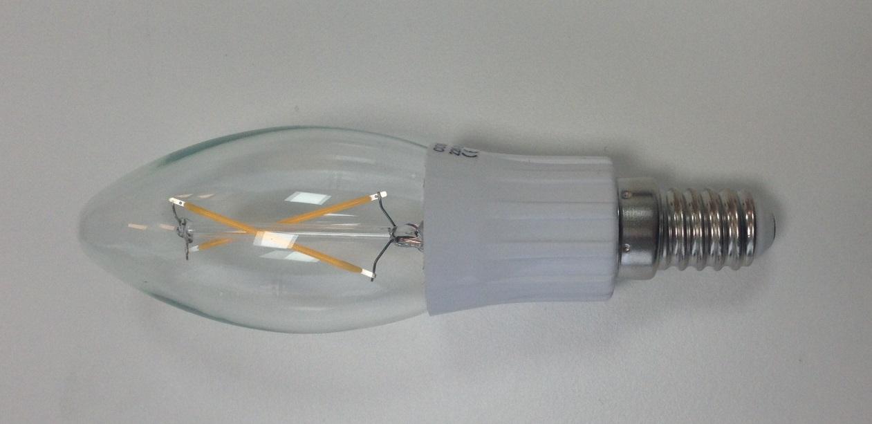E14 sokkelstørrelse 2-3W.  Egner seg meget godt til lysekroner og pyntelamper.