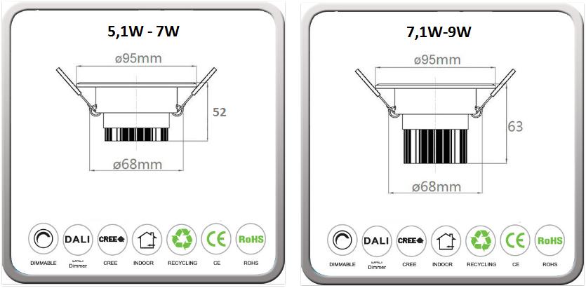 Alle modellene opp til 9W leveres med to høyder på kjøleelementet.  Den lave vil kunne monteres under fuktsperren.   LUX DLC Serie spesifikasjon (trykk her)