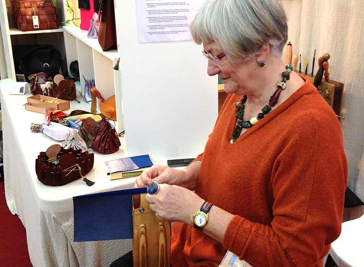 Beautiful leatherwork alongside my knitwear at Wisley