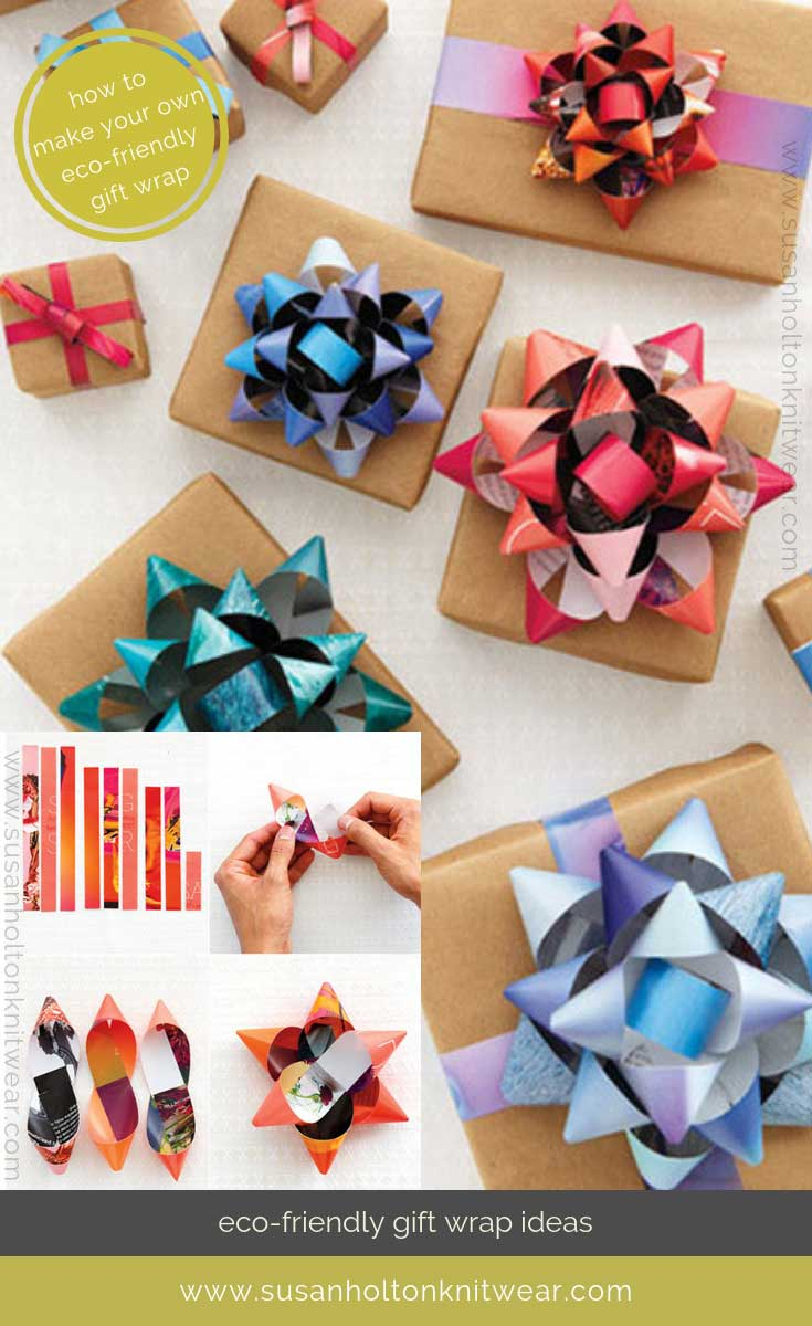 How to DIY your own stylish gift bows from discarded magazine pages - creative and eco-friendly. Fun and #sustainable easy ways to #wrap your gifts #eco #friendly #DIY #handmade #Christmas #gift #wrapping #ideas