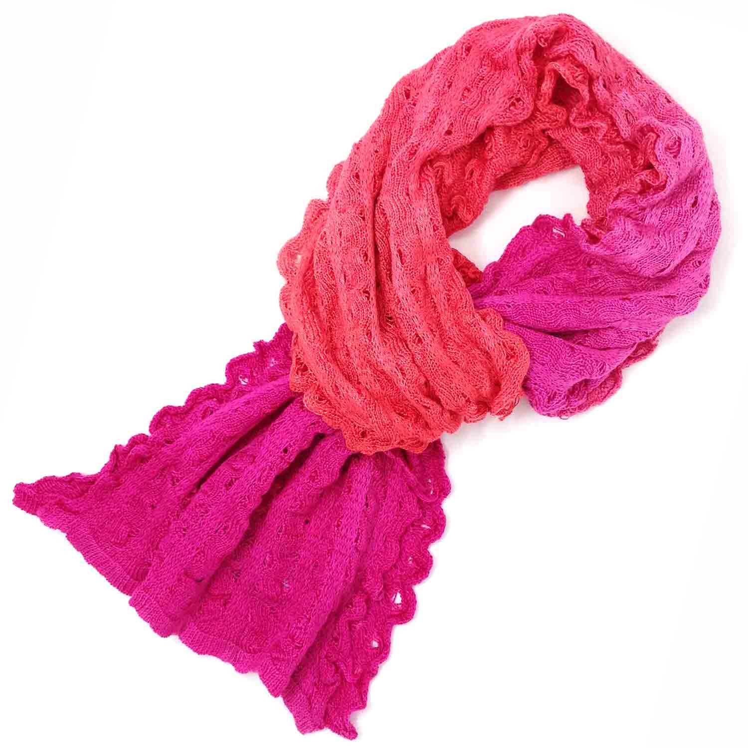 Hand painted silk ripple scarf in scarlet and magenta from Susan Holton Knitwear