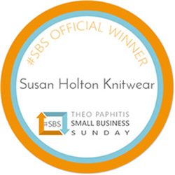 Susan Holton Knitwear was selected by Theo Paphitis as a '#Small Business Sunday' winner