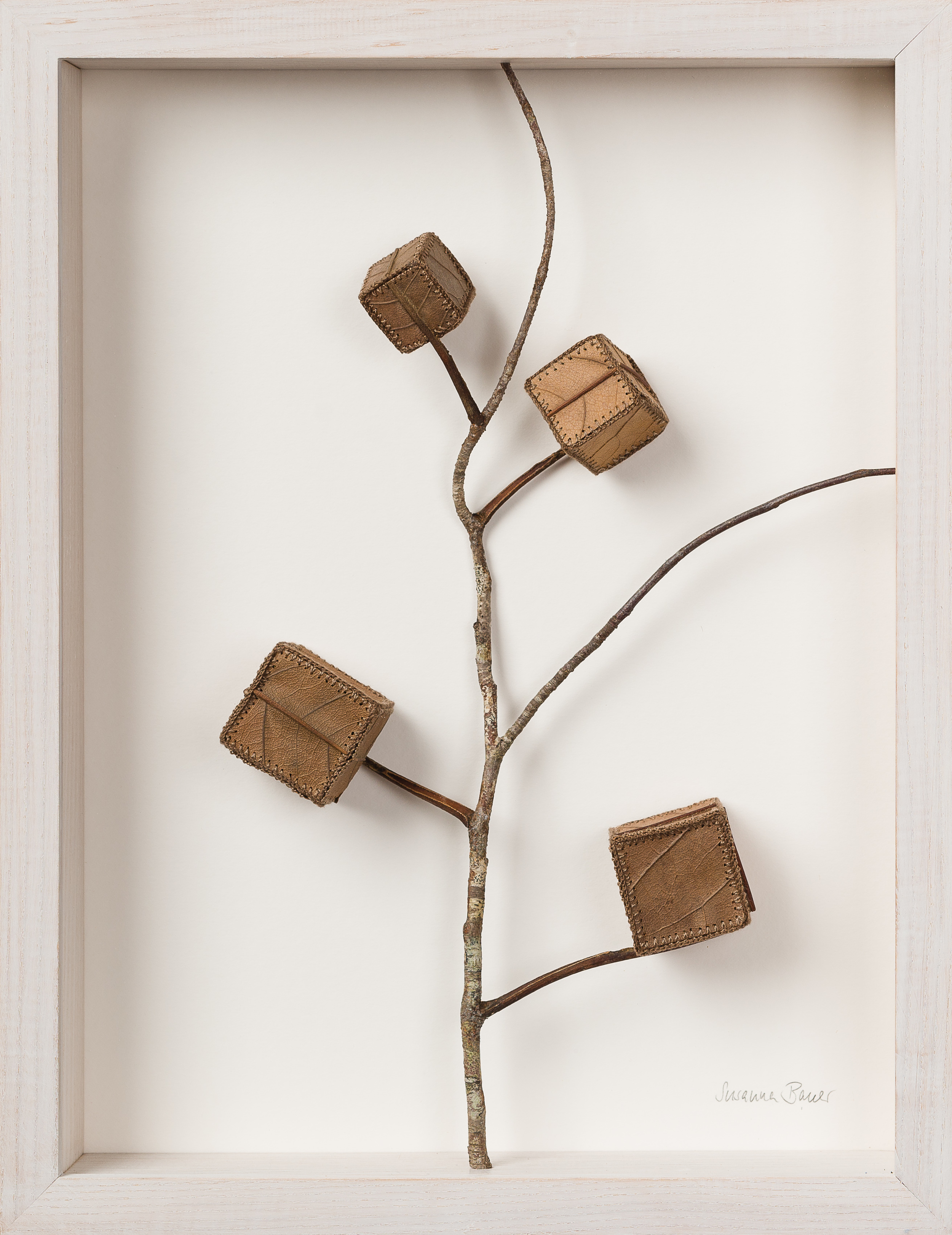 Cube Tree No.4   34.2 H x 26.5 x cm  magnolia leaves, cotton yarn, wood  £ 900