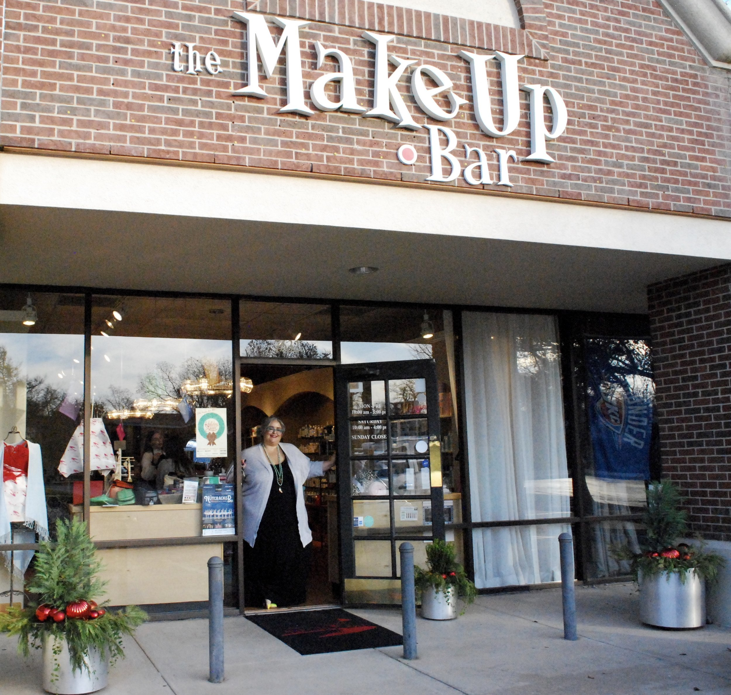 "Curb Appeal Shout Out!   WE LOVE ALEX! Her fabulous store, The MakeUp Bar, has been THE place to buy make up and skin care products in OKC since 2001. They also offer a full array of aesthetic treatments (We can vouch for their amazing facials). If you need any beauty products for a male or female loved one … run don't walk to The MakeUp Bar. Alex and her team will hook you up!   We've been digging in the dirt at The MakeUp Bar and Alex's home for 4 years. Alex says it best when asked about why she reached out to Adorn. ""Oh Lordy, anybody who knows me, knows I can't keep a plastic plant from turning yellow. So when I saw an instagram post about Adorn, I immediately called and inquired! After talking to Elizabeth I felt like she really heard what I was saying and that I needed low maintenance. After she was done with my pots at home they looked so incredible I had her do the pots at The MakeUp Bar. I couldn't stop singing her praises and telling all my friends and clients about her. Adorn is a luxury and sometimes I have to really budget it in, but it is a treat that keeps on giving every time I walk in at home or at work! I will always use and recommend Elizabeth and Adorn.""  Awwww thank you Alex! We love you too!  And we love all our friends of Adorn! We thank you all for your interest in container gardening and outdoor decor. We wish you a wonderful holiday season!   Cheers! Elizabeth & Julie"