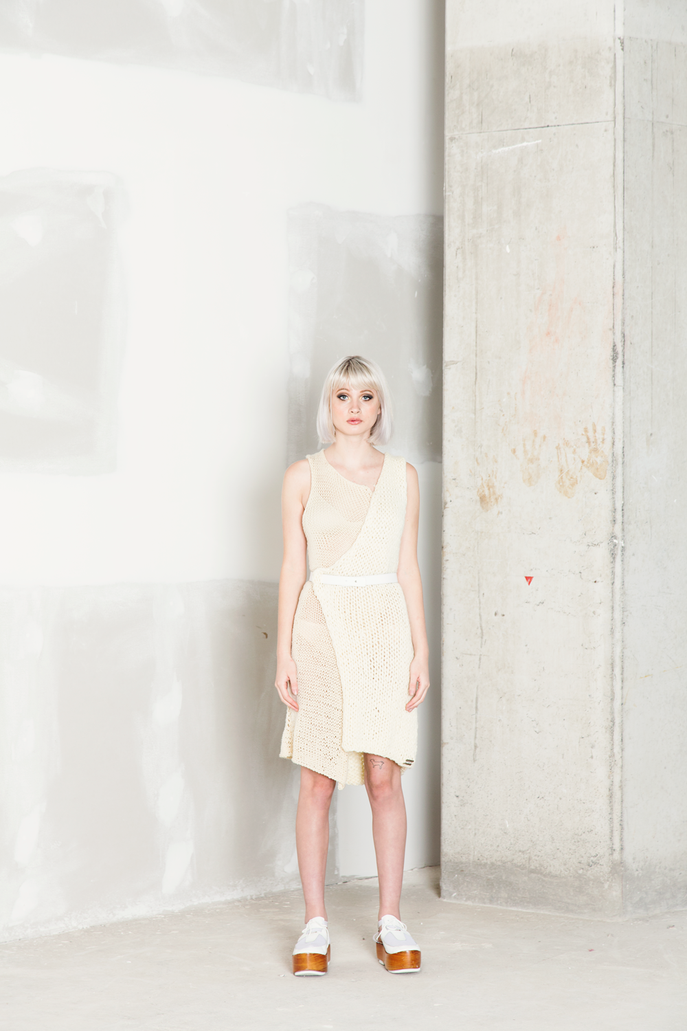 Per Materia  Hand-knitted dress double texture One size / Bamboo yarn $350.00 + Shipping