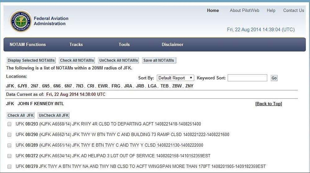 Sample NOTAM (Notice To Airmen) for JFK Int.