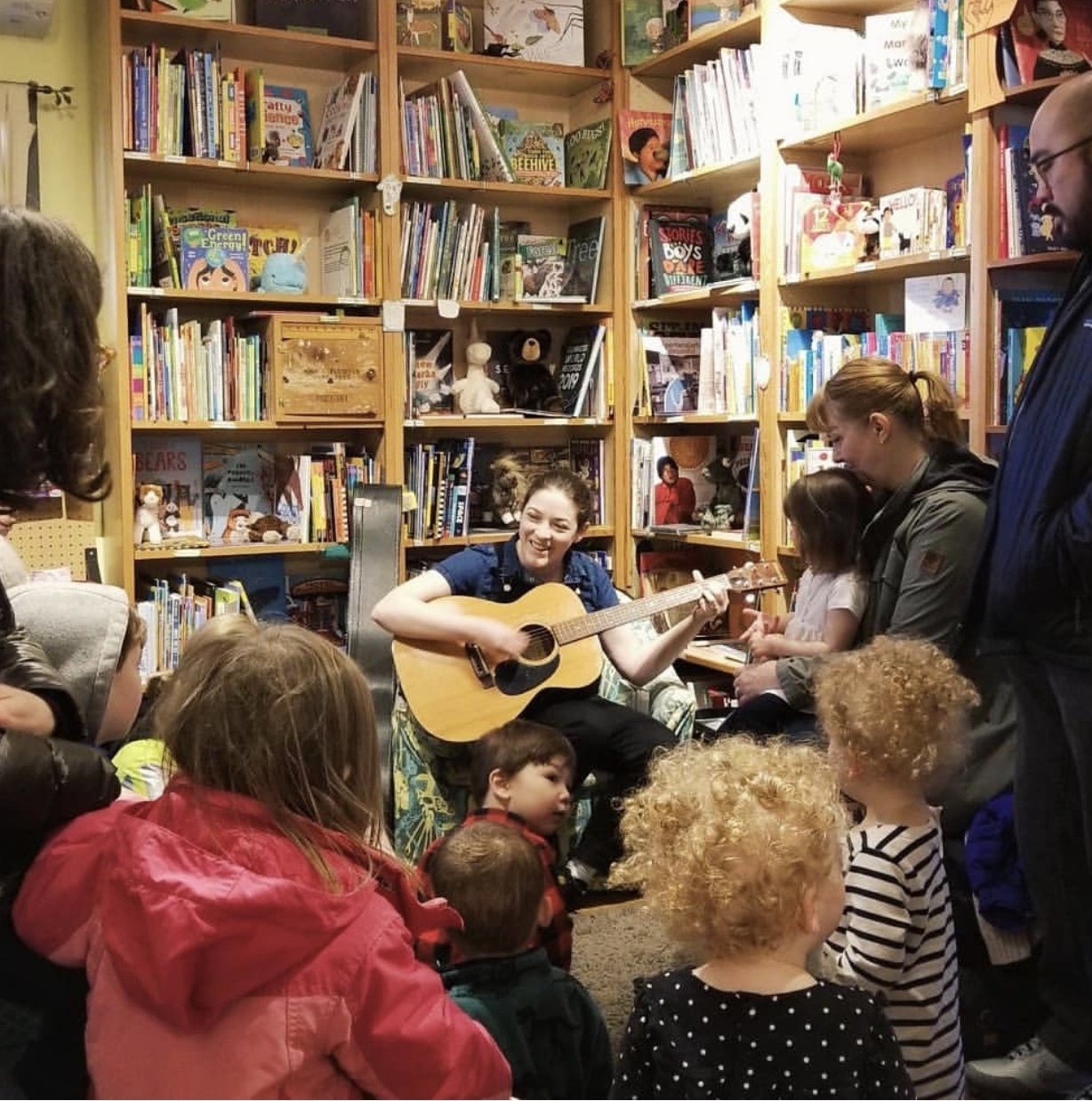 Sarah Jones hosting a story time with books and music at  Green Bean Books  in Portland, Oregon, in January 2019.