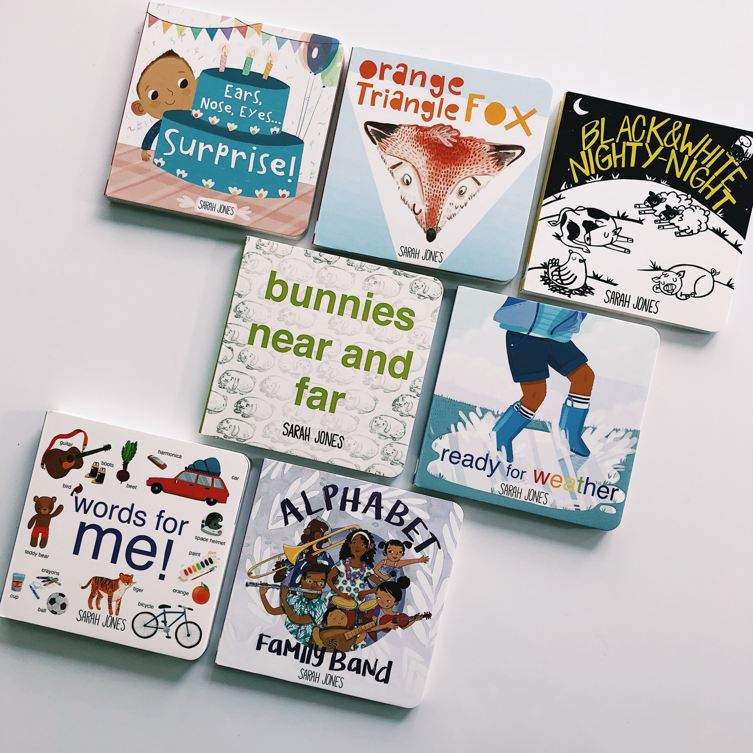 All seven books in the ROYGBaby series, written and illustrated by Sarah Jones