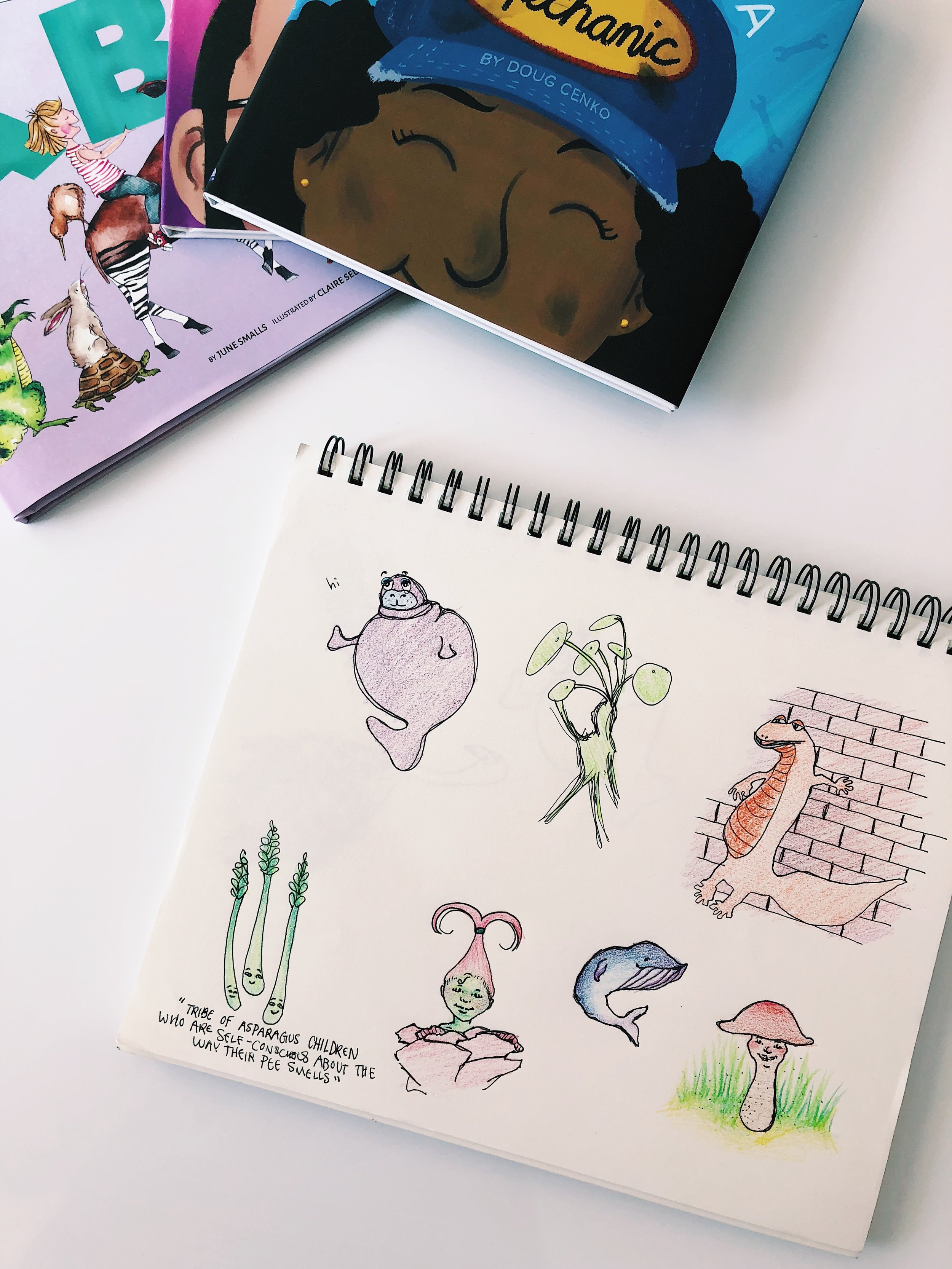 Inspired by our titles and the artwork in our picture books, Bailey sketched some new characters to keep practicing her illustration skills.