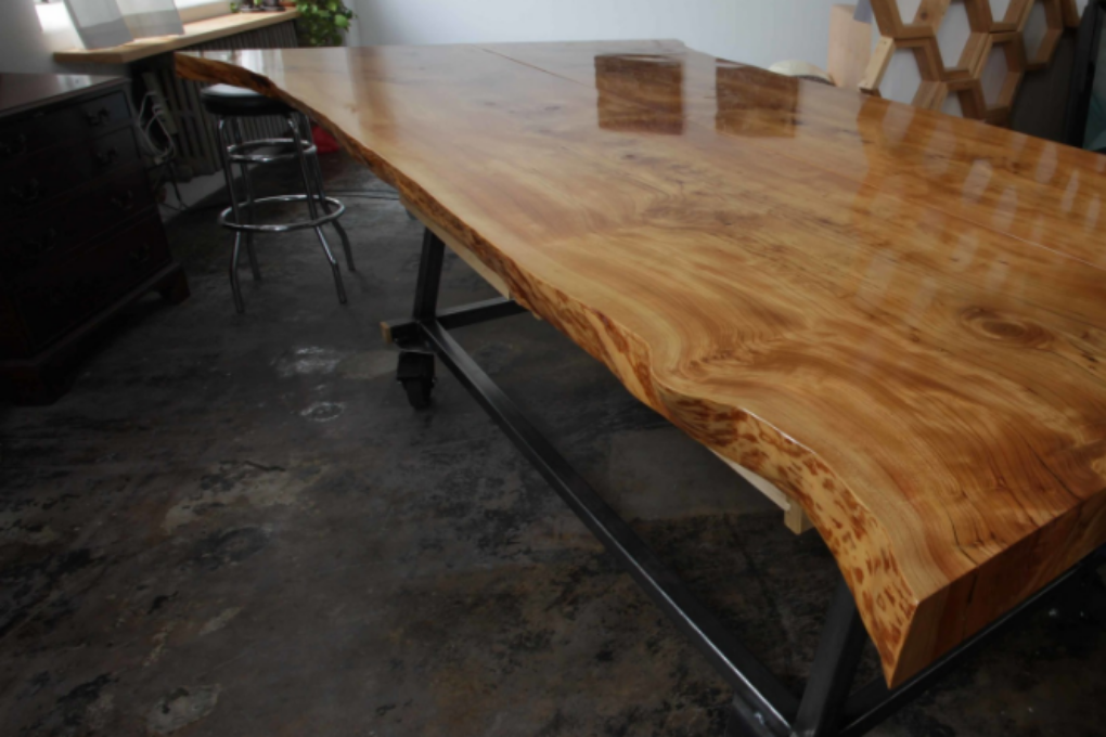 """TABLE 40""""H x 52""""W  x 100""""L Cedar (with natural oil finish), Steel"""