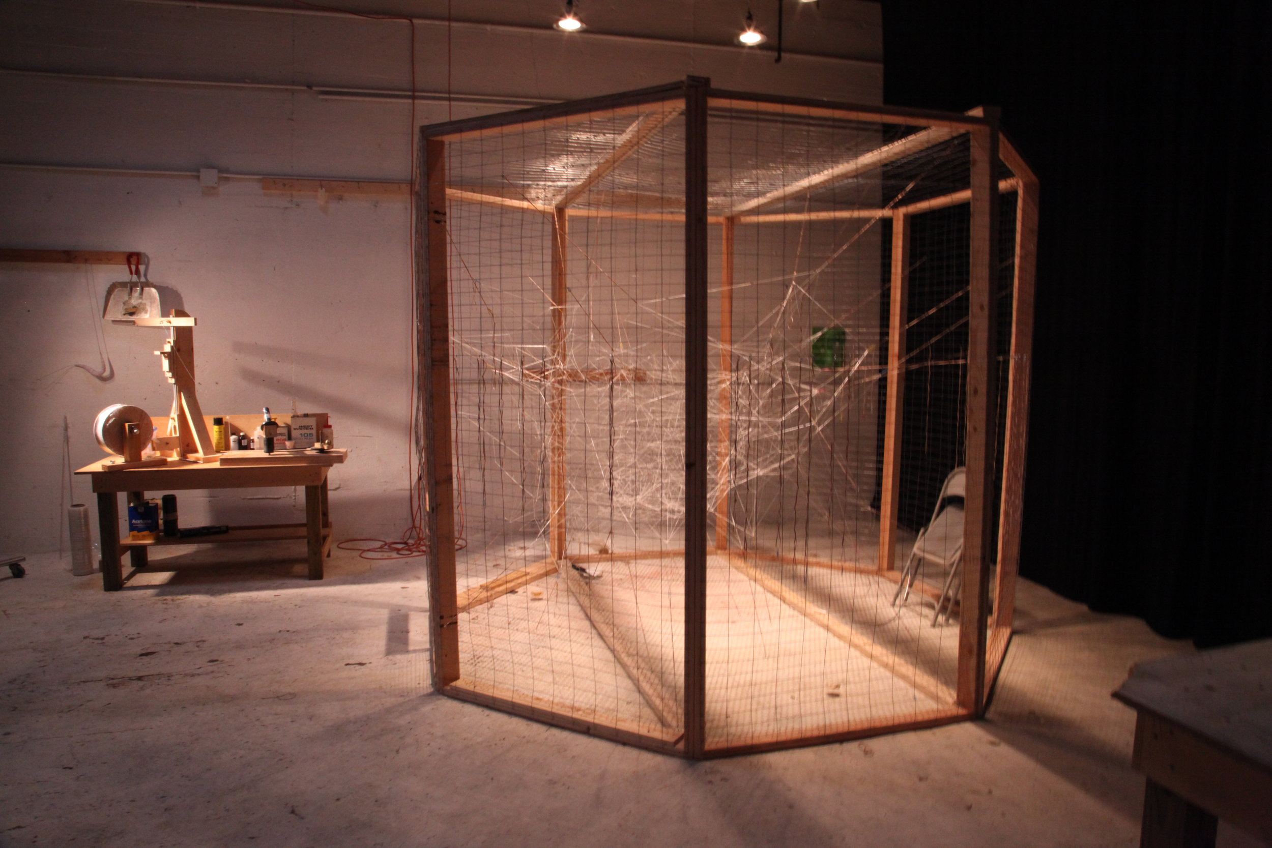 The first cage shown with the first Fractal Mist under construction.