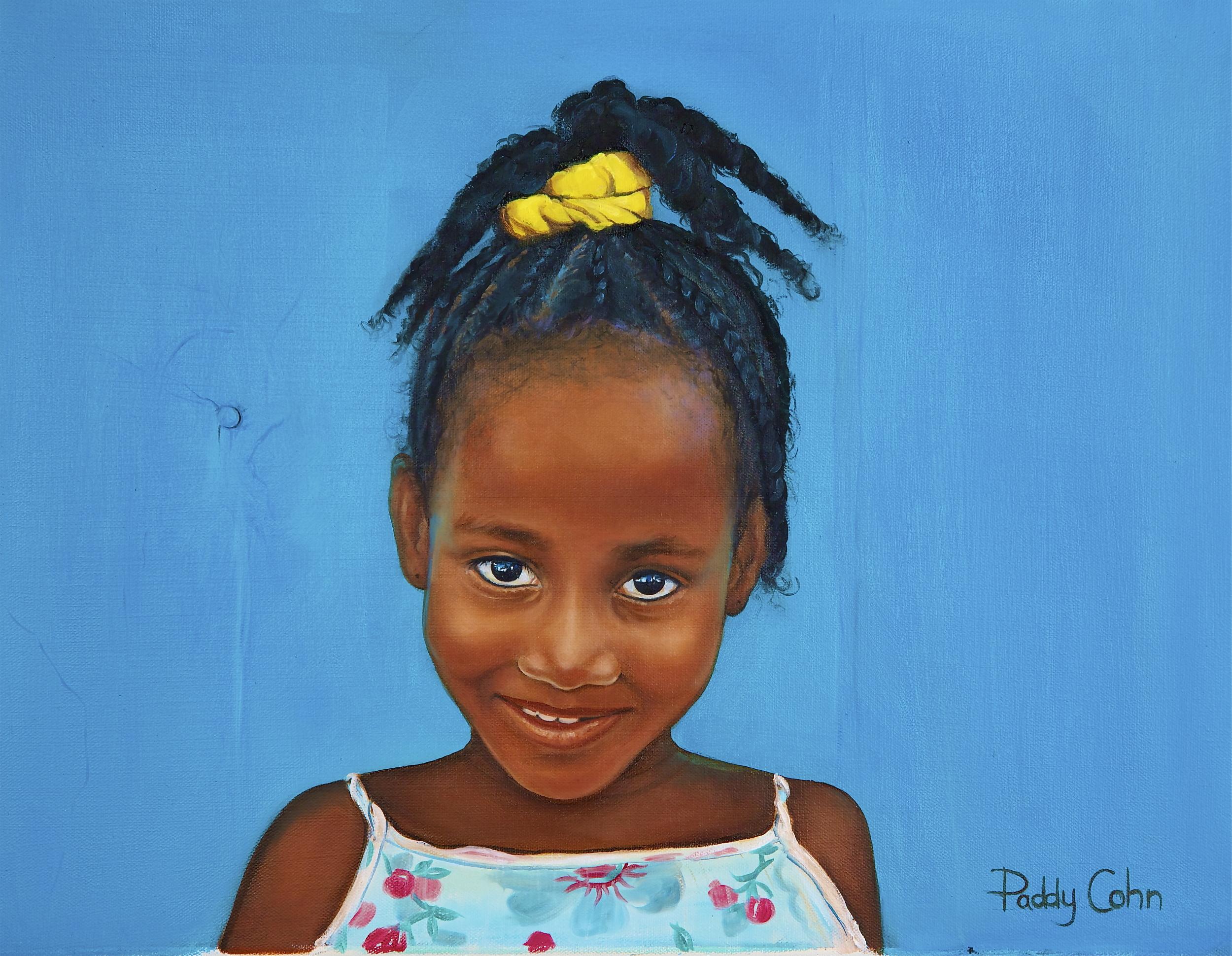 """Caribbean Girl 18"""" x 14"""" oil on canvas"""