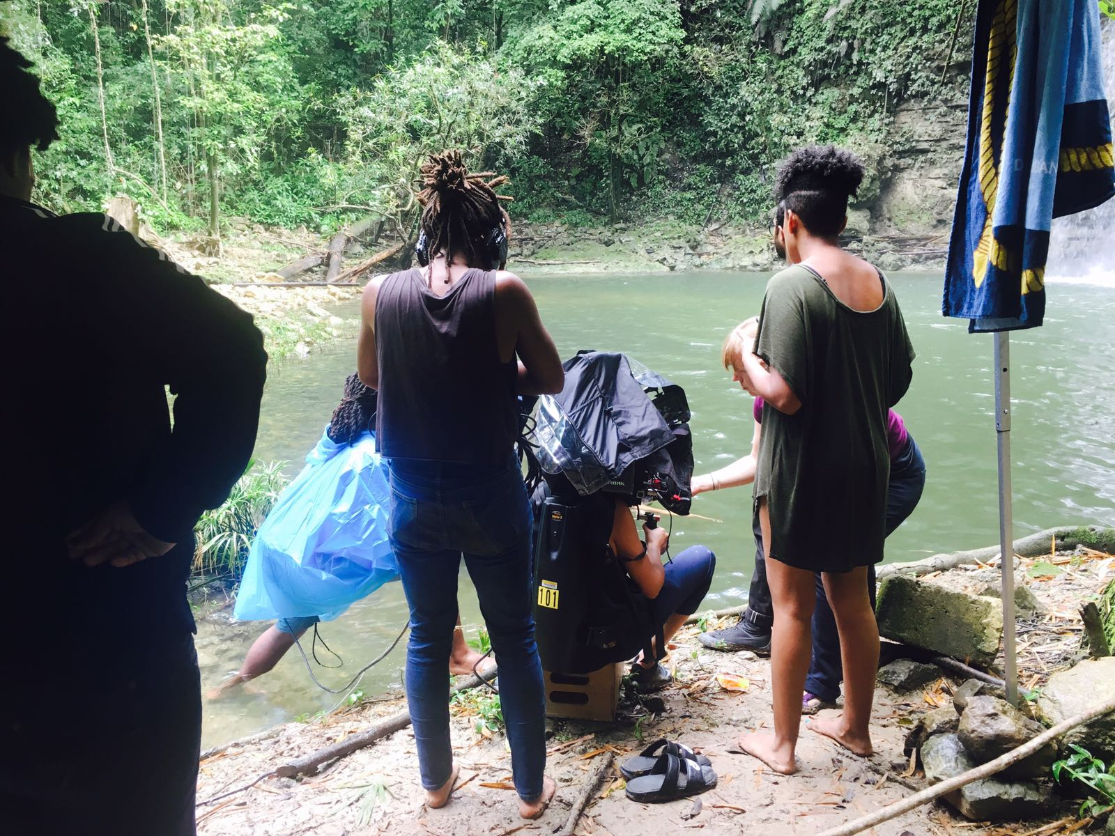 Crew at work during the Waterfall scene!