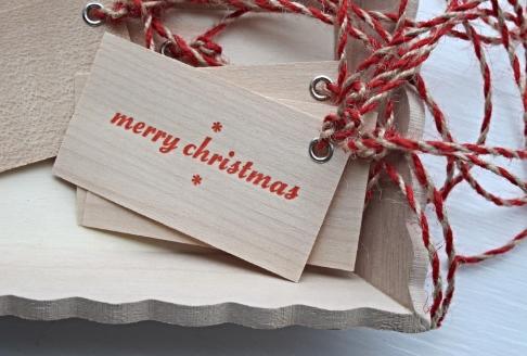 merry christmas - wood veneer tags
