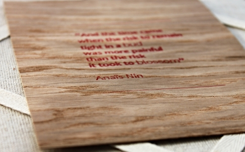 anais nin quote - wood veneer