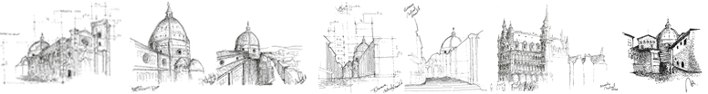 Analytic drawing examples by workshop instructor  Michael Sciarrillo, AIA