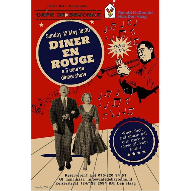 "Chef Boris Vermolen from Café de Bayonne and singer Marloes Jager are hosting the ""Diner en Rouge"" to tell a story with food and music 🎶 during this tasteful ode to life we look with a wink at the answers to life questions in food and music with songs from Queen, Nielson, Sinatra, Bløf, Edith Piaf, Harrie Jekkers and other famous artists 🎷🎸 while enjoying a wonderful evening, you support the Ronald McDonald House The Hague where long-term and seriously ill children can stay together with their family in a homely environment ♥️ dresscode: from a modest red accessory to fully decked chic red 🌹  You can order tickets via www.cafebayonne.nl Or call us: 070-220 94 51"