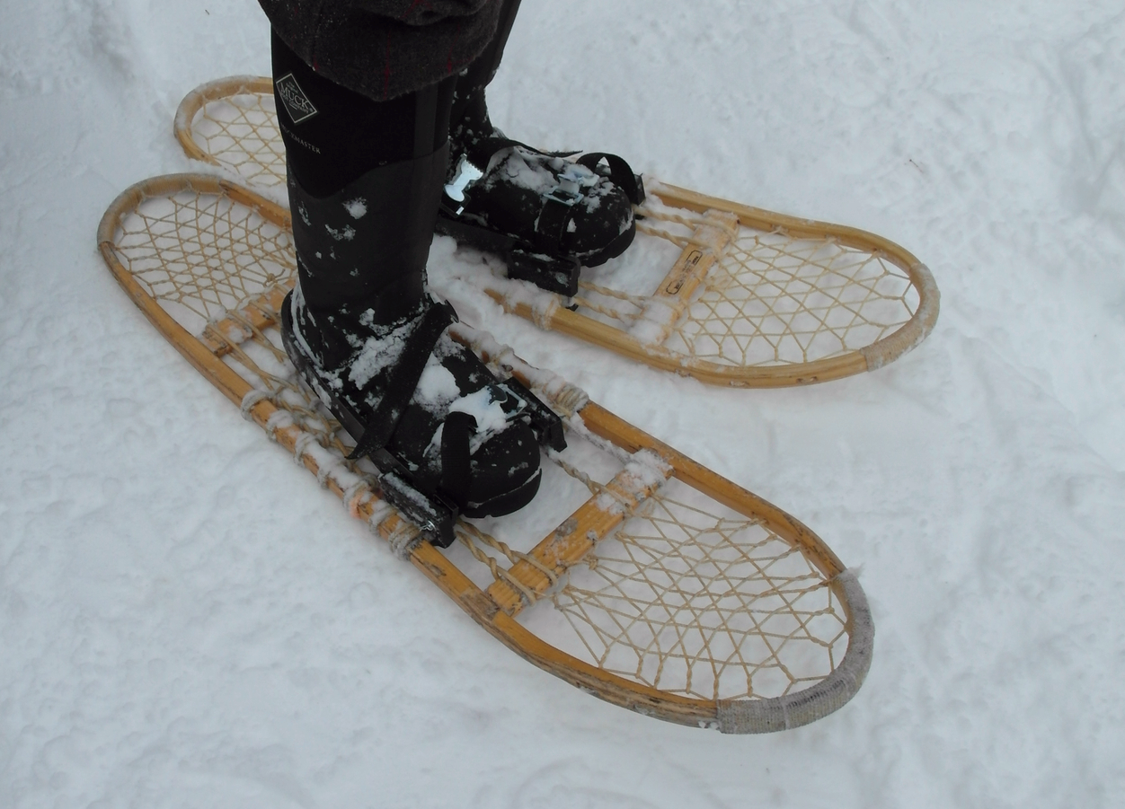 VJ's first pair of Maine Guide snowshoes - perfect for the Taiga.