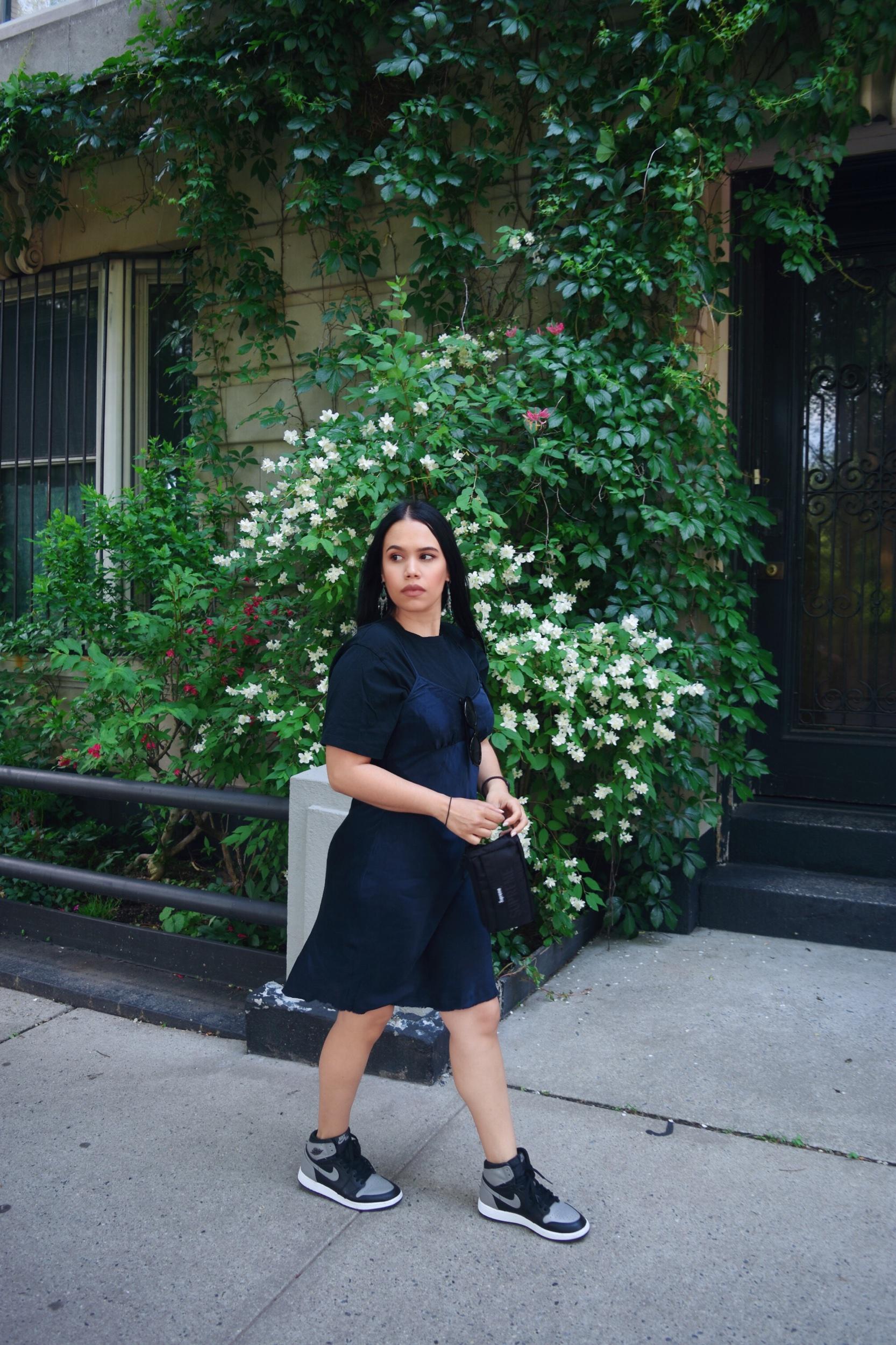 Silk Dress: Club Monaco   Zara T-shirt   Supreme Pouch   Nike Air Jordan 1 Shadows