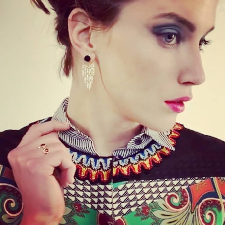 Black Onyx & Diamond waterfall design Front/Back Earrings and Spessertite garnet and diamond eternity band