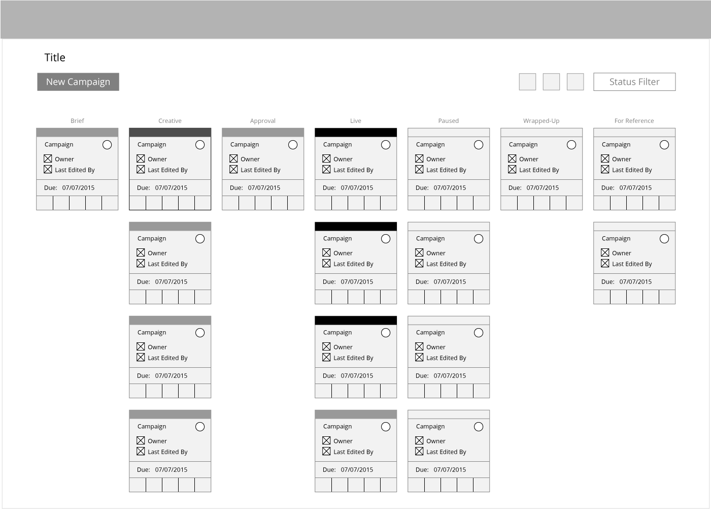"A wireframe of the ""Home"" page"