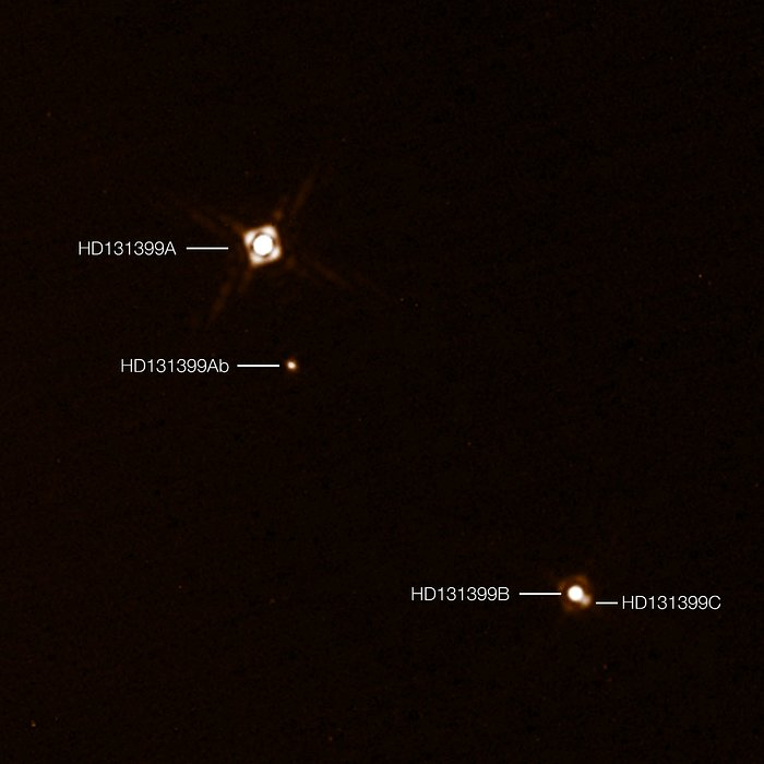 Image: ESO/K. Wagner et al    HD 131399Ab is a newly discovered exoplanet in the Centaurus constellation. The other labeled bodies are the three stars it orbits.