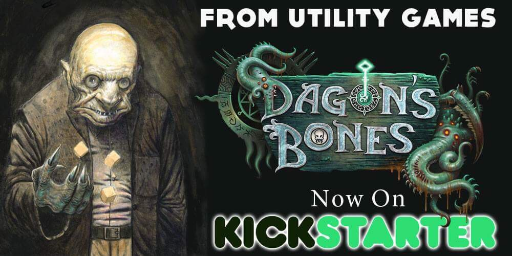 Visit our sponsor's new Kickstarter for Dagon's Bones, a Lovecraft-inspired dice game!