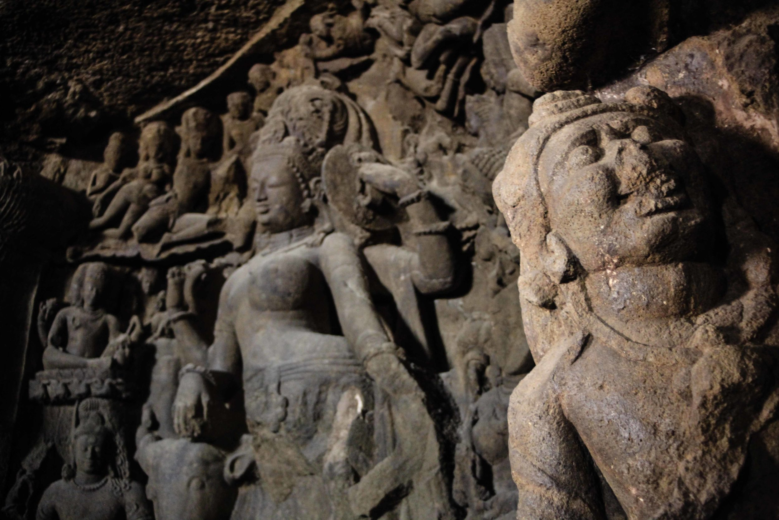 The amazing statues inside the caves at Elephanta Island