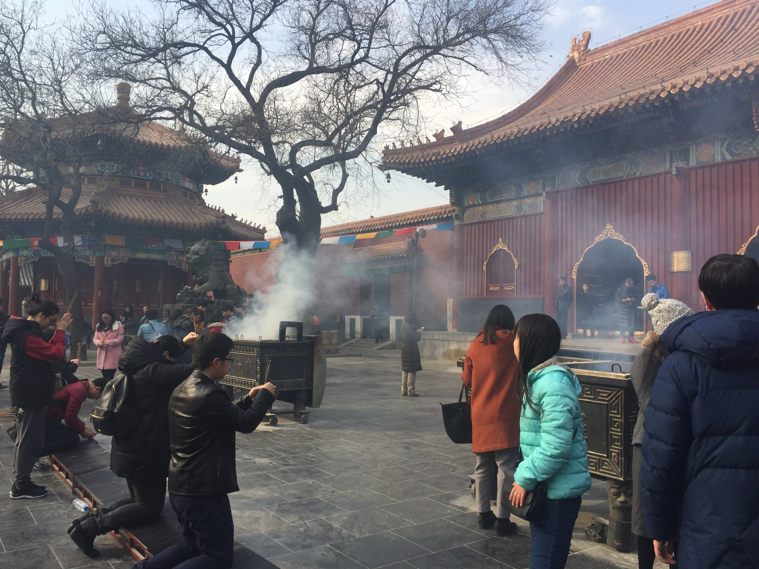 Incense ceremony at the Lama Temple