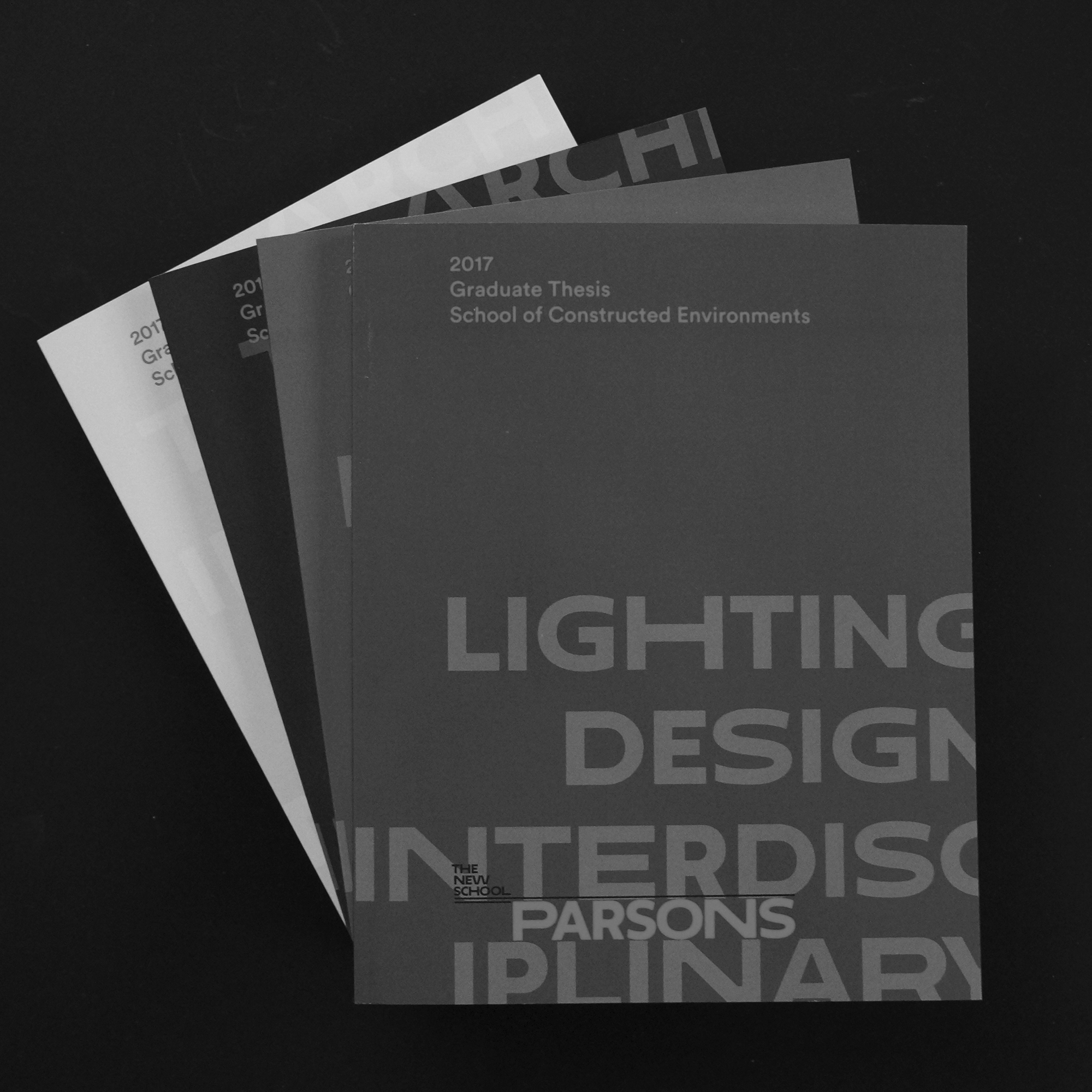Parsons SCE 2017 Graduate Thesis     The 2017 Graduate Thesis book presents student work from Parsons School of Constructed Environments Architecture, Lighting, Interior Design, and Interdisciplinary programs.