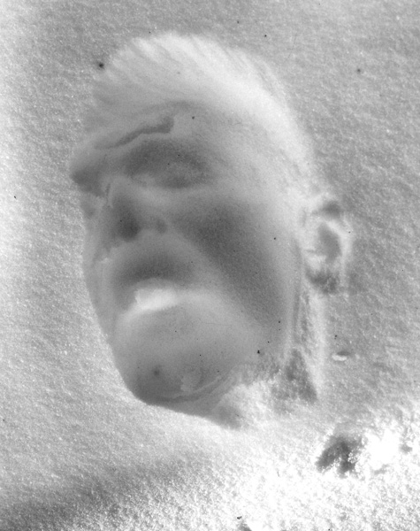 "Impression of my face in the snow  ,  1994, 24"" x 20"", Silver print"