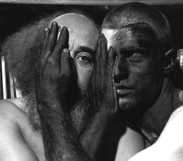 """My father and I with our bodies painted black  ,  1994,  20"""" x 24"""", Siver print"""