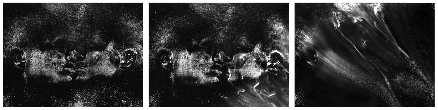 "I rolled my head from one side to the other  ,  Triptych, 2000, 30"" x 118"", Siver prints"
