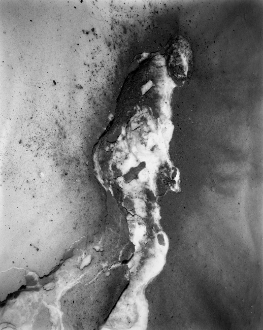 "I threw ash on the snow and then lay down in it    1994, 40"" x 30"", Silver print"