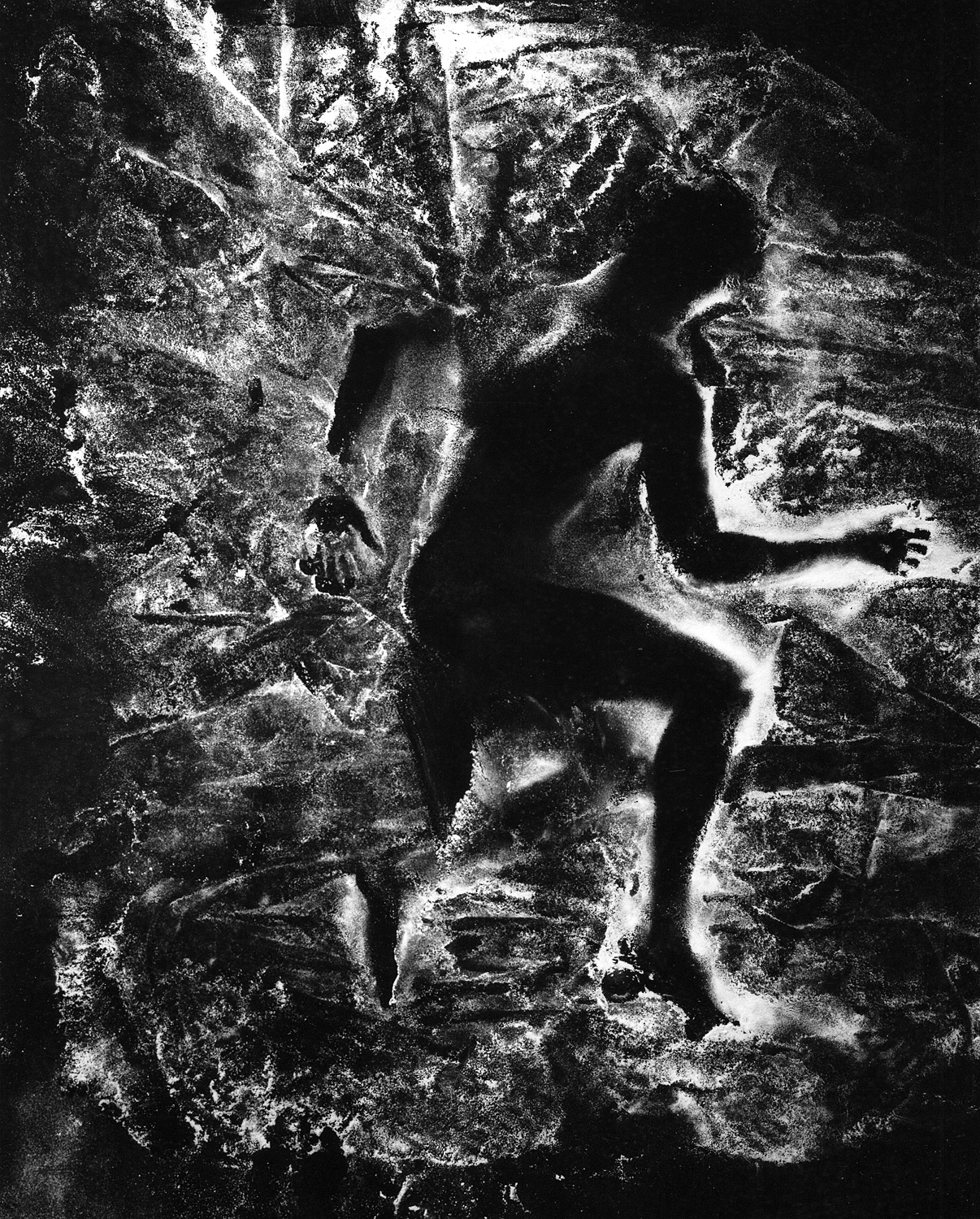 "I lay down and had flour dropped on me, for Ralph Ellison    1999, 40"" x 30"", Silver print"