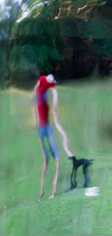 """Bottle portrait, Self portrait with my dog    2016, 30"""" x 14"""", Pigment print"""