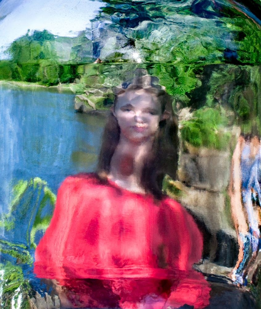 """Woman in a red blouse    2016, 35"""" x 28"""",Pigment print"""