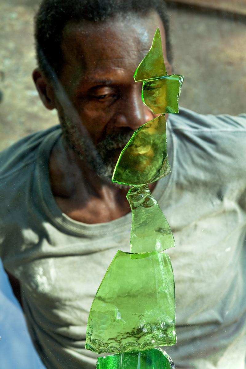 """Burgess, as seen through broken green glass    2019, 42"""" X 28"""", Pigment Print"""