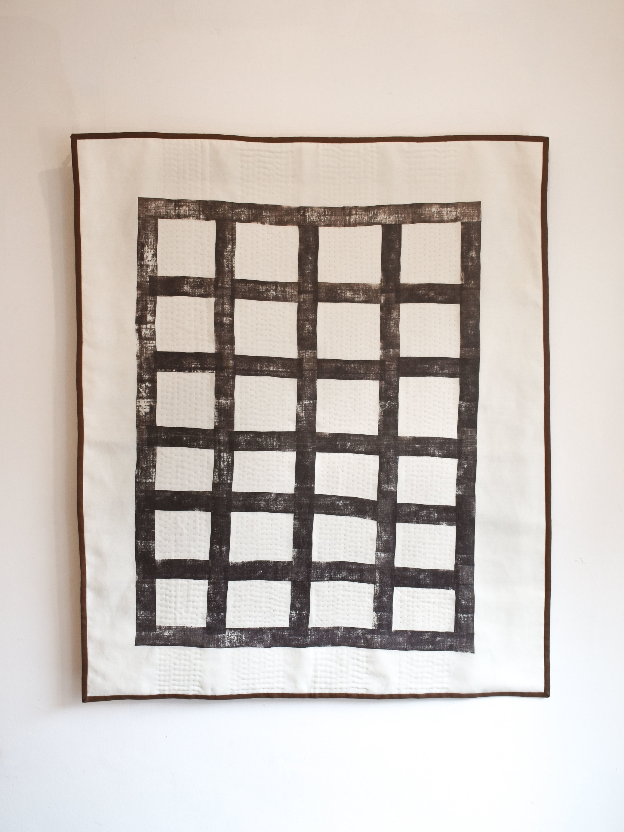 Net - 120 x 100 cm  block printed & hand stitched linen with linen backing